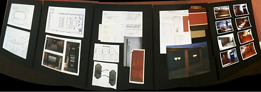 panoramic shot [from left to right] concept sketch to 3D rendering, material and color choices and construction progression shots. 
