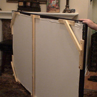 "Used 1X4 Pine (straightest wood at HD) for frame, 1X2 Pine for cleats and support.  Also used L brackets for corners, black felt, spray adhesive, BO cloth, and a ton of staples!  $500 looking 92""er for ~$80.  Very sturdy, too and bracing..."