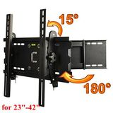 ATC Articulating LCD Flat Pannel TV Wall Mount for Samsung 23'' 32'' 37'' 40'' 42'' Black Down / Forward: 15 degrees,Right / Left: 180 degrees,VESA standard 75/100/200/400