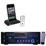 Pyle Stereo Receiver and iPod Dock Package - PD1000A 1000 Watt AM-FM Receiver w/ Built-in DVD/CD/MP3/USB - PIDOCK1 Universal iPod/iPhone Docking Station For Audio Output Charging - Sync W/iTunes And Remote control