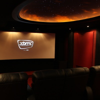Master dedicated theater.  7.2 system with a total of 9 speakers. (2 sides per side).  10 Foot wide cinemascope screen and 3 Chip Runco VX2-DC with autoscope.