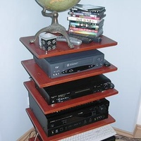 "Homemade ""floating shelves"" AV rack.  Construction details in other rack picture.