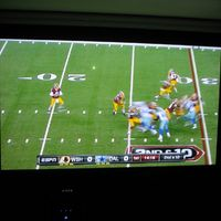 "Drop down electrical screen in front of 50"" plasma and speakers. Screen is a 110"" Vutec AT and a Sony VW90ES Projector"