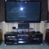 Onkyo 5008, Slim PS3, XBOX360, Monster Power HDP 2400, Small Linksys Switch, Logitech wireless keyboard, Harmony 1100 remote, DirecTV HD