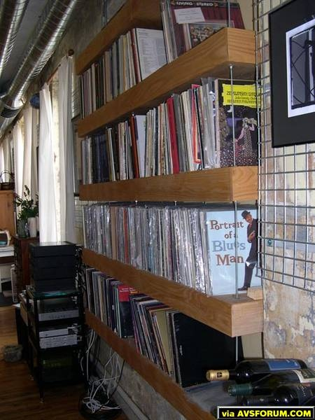 This cantilevered wall storage rack is in our loft immediately outside our theater room door. It stores 1000+ vinyl records and a couple hundred LDs. Just to the left of the storage unit is the gears racks for our Mini-Me livving area system.