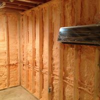 spray foam on walls and mini split to heat/cool the room