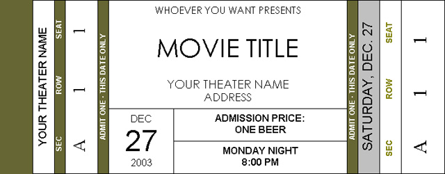 Movie Ticket Template Word Idealstalist