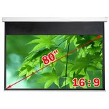 "Antra Electric Motorized 80"" 16:9 Projector Projection Screen Matte White"