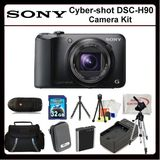 Sony CyberShot DSC-H90 Digitsl Camera Kit Includes: Sony Cyber-shot DSCH90 (Black), Extended Life Replacement Battery, Rapid Travel Charger, 32GB Memory Card, Memory Card Reader, Hard Case, Large Carrying Case, LCD Screen Protectors, Cleani