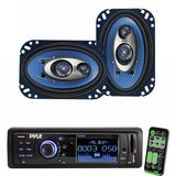 Pyle Radio Player and Speaker Package for Home, Studio, Car, Van, Truck, Mobile etc. - PLR33MPD AM/FM Band Radio USB/SD Receiver w/ Detachable Face - PL463BL 4'' x 6'' 240 Watt Three-Way Speakers (Pair)