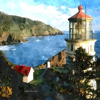Heceta Head Light, Oregon - Watercolor