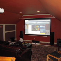 Motorized Projection Screen (Somfy Motor) w/ RF Remote - Matte White Fabric (106 inch, 16:9)  Monoprice item number 6582