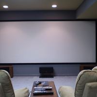 13 foot wide 2.35 screen - white painted wall with homemade frame.