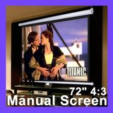 "72"" 4:3 Manual Pull Down Projector Projection Screen Self-locking Matte White"