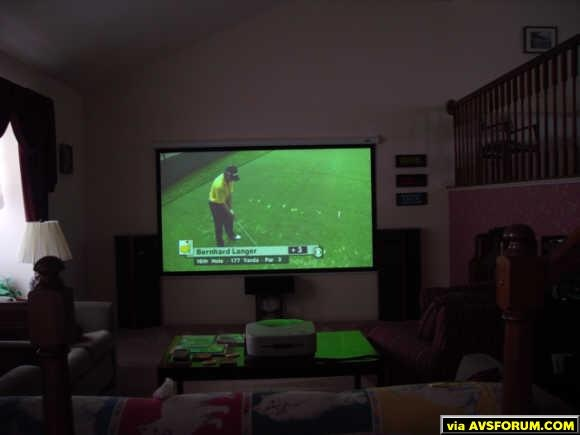 The room during the day with the 2002 Masters in HDTV.