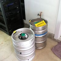 Bottom of the rack and some kegs for the kegerator. AudioControl Maestro M3, AudioControl Avalon, AudioControl Savoy, Savant 16 Channel Amp for whole house audio (8 stereo Zones)