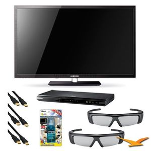 Samsung PN51D7000 51 Inch 1080p 600Hz 3D Plasma HDTV with PN51D7000, BDD5500 3D Blu Ray Player, 2 SSG-3050GB 3D Glasses, Xtreme 6 ft 1.4v HDMI Cables (x3), and TV Screen Cleaning Solution