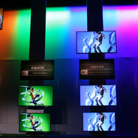 A multi-color video wall from the Sharp press conference