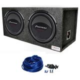 "Package: (2) Pioneer Champion TS-W309D4 12"" 2800 Watt Peak / 800 Watt RMS Dual 4 Ohm Car Subwoofers + Atrend E12D Dual 12"" Mdf Sealed Subwoofer Enclosure + Dual Enclosure Wiring Kit With 14 Gauge Speaker Wire + Screws + Spade Terminal"