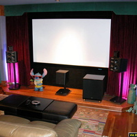Planning for the future...remove the front drapes and install Stewart Filmscreen Cinecurve 2.40 : 1 together with the Sony VPL-VW200 and anamorphic lens option...let's see, that adds up to: