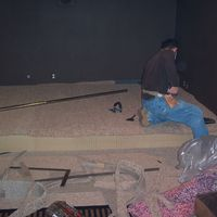 Riser being carpeted 3.