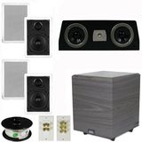 "5.1 Home Audio Speakers 4 Speakers, 1 Center, 10"" Powered Sub and More TS50WC51SET4"