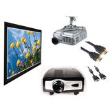 "5 PCs 1080p Home Theater Projector Bundle with 100"" Fixed Frame Screen, Ceiling Mount and Cables"
