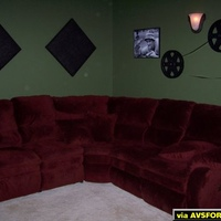 Seating area with acoustic panels