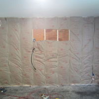 Front wall soundproofing & ceiling wired for lights