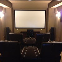 Theater room completed with 4 leather recliners and separation inserts. (I don't like bumping arms with people)