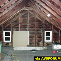 This is a pre-construction photo of the attic facing the stairway