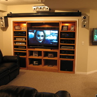 "My Home Theater - 106"", 50"", & 32"" screens."