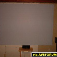 Da-Lite High Contrast Screen (60x80). Material $3 sq ft. Home-made frame.  Total cost $115. Energy Take 5 Speaker system.