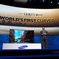 Samsung introduces a UHDTV that switches from curved to flat at the push of a button